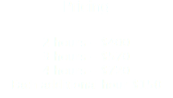 Pricing 2 hours - $400 3 hours - $570 4 hours - $720 Each additional hour $150